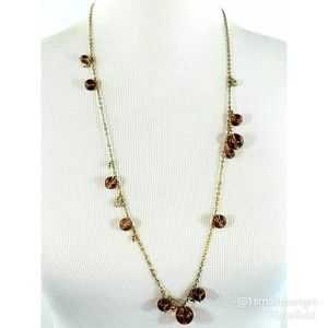 J. Crew amber beads long chain necklace 16""